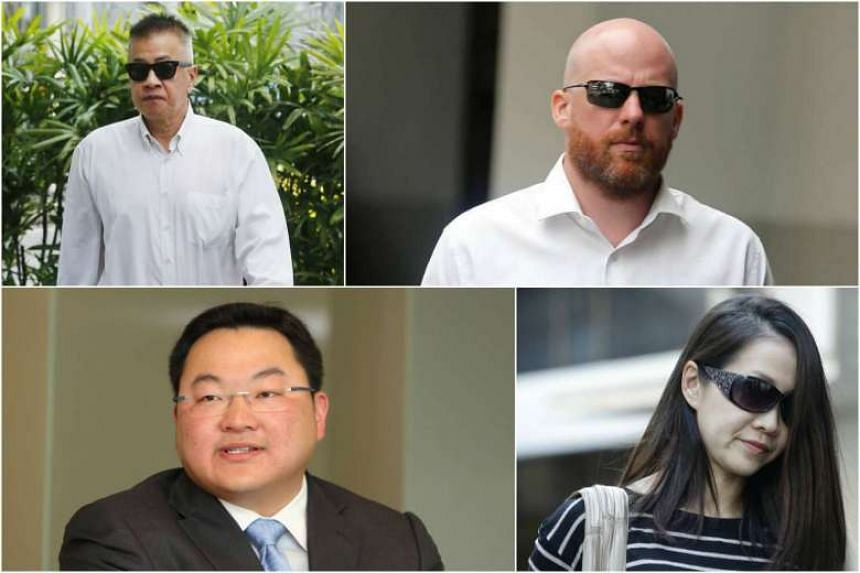 Yak Yew Chee (top left) and Yvonne Seah Mei Ying (bottom right) were convicted of multiple counts of failing to report suspicious transactions and of forging reference letters at BSI Bank on behalf of Low Taek Jho (bottom left). Jens Fred Sturzenegge