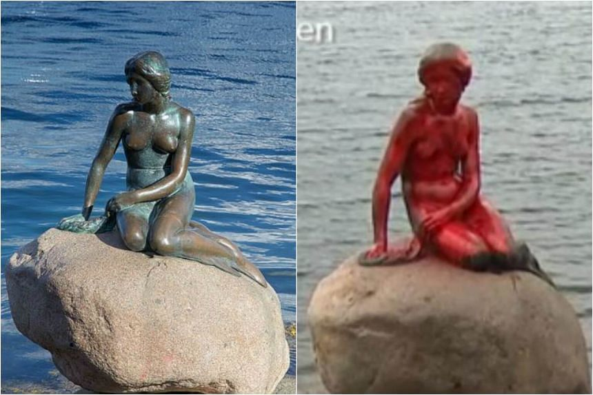 "A before and after comparison of Copenhagen's famous ""little mermaid"" statue, which Danish police said on May 30 was vandalised with red paint by animal activists."