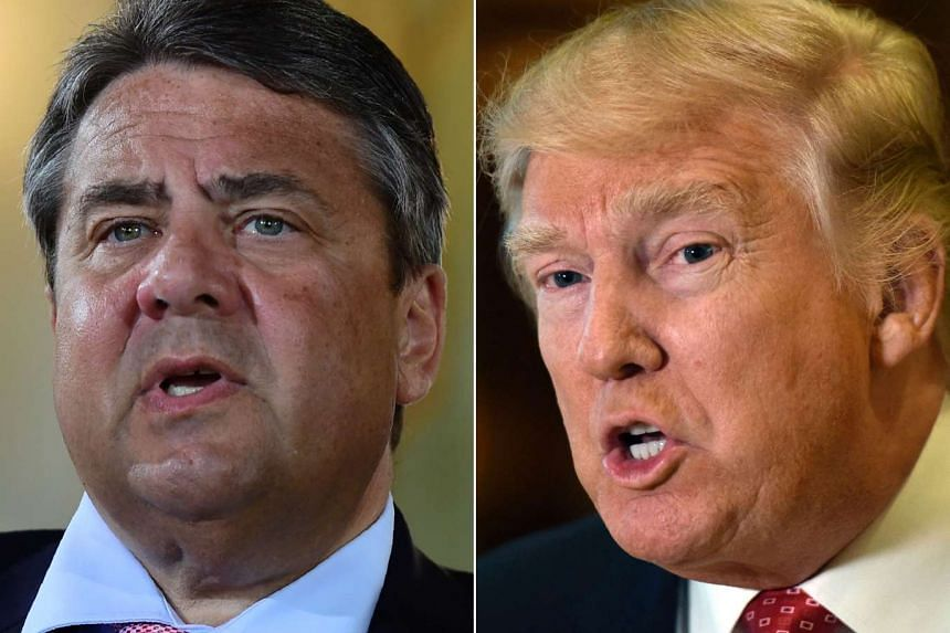 German Vice-Chancellor Sigmar Gabriel is seen at left, US President Donald Trump at right.