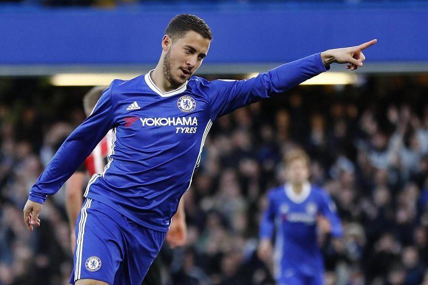 Chelsea's Eden Hazard celebrating after scoring against Southampton on April 25, 2017.