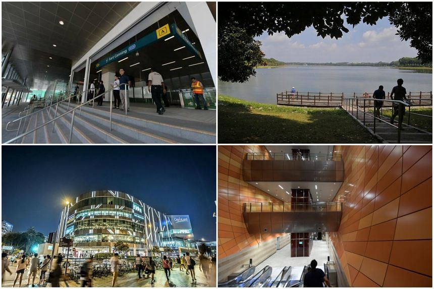 (Clockwise from top left): The entrance to the new Fort Canning Station, Bedok Reservoir, the interior of Bencoolen Station and Tampines Mall.