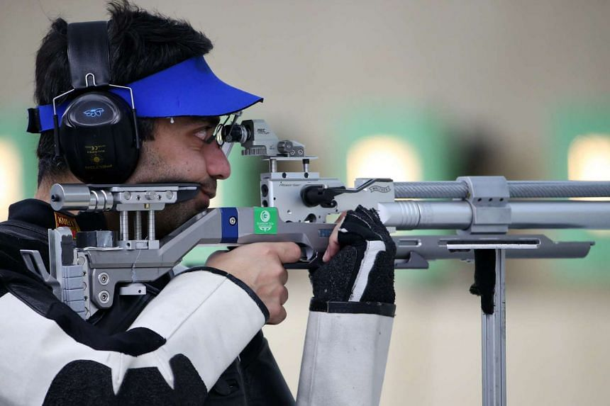 India's ace shooter Abhinav Bindra training at the Ongnyeon International Shooting Range, in Incheon, South Korea, on Sept 20, 2014.