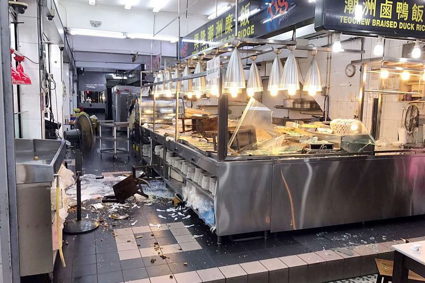 Three men and a woman were caught on closed-circuit television cameras wrecking Heng Long Teochew Porridge in the wee hours last Saturday.