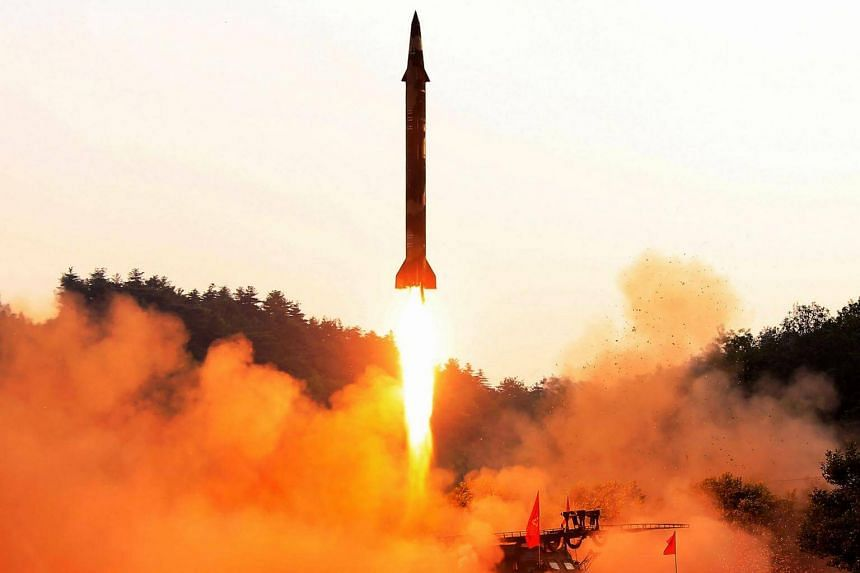 A ballistic missile being launched at an undisclosed location in North Korea, in an undated photo released by the country's official Korean Central News Agency on May 30.