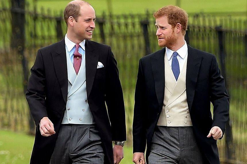 Prince William (far left) and his brother Prince Harry at the wedding ceremony of his sister-in-law Pippa Middleton and James Matthews. Prince William was 15 and Prince Harry 12, when their mother Princess Diana died.