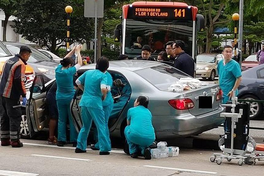 Seven responders from Farrer Park Hospital came to the aid of the driver on May 22. They kept him in a stable condition and monitored his heart rate until the Singapore Civil Defence Force arrived.