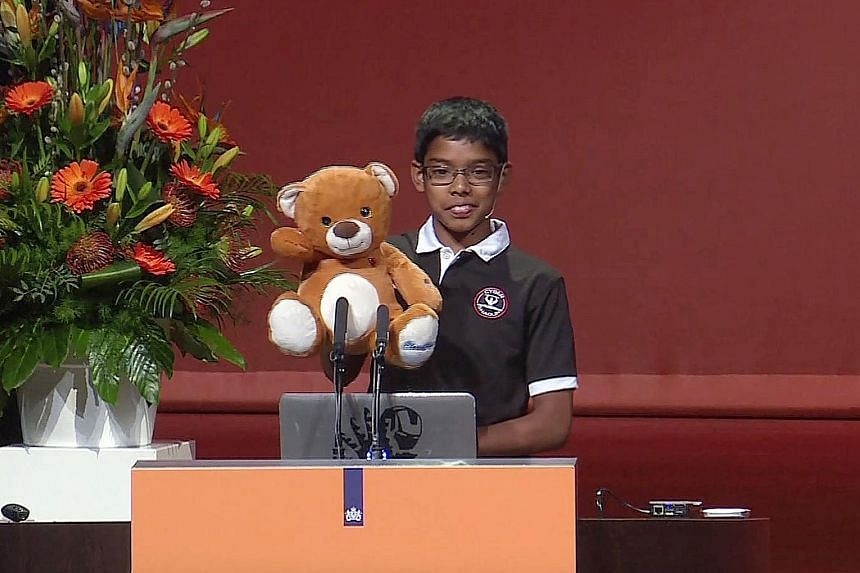 Reuben Paul, 11, a sixth-grader from Austin, Texas, during his presentation at the World Forum in the Netherlands, touched on how smart devices, such as his own teddy bear, could be compromised by hackers.