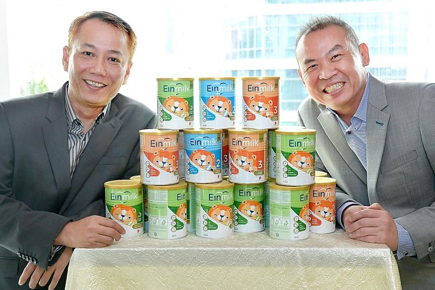 Mr Alvin Tan (left) and Mr Eric Chua conceived the idea of having a locally made range of infant milk powder two years ago, after finding a lack of affordable options here.