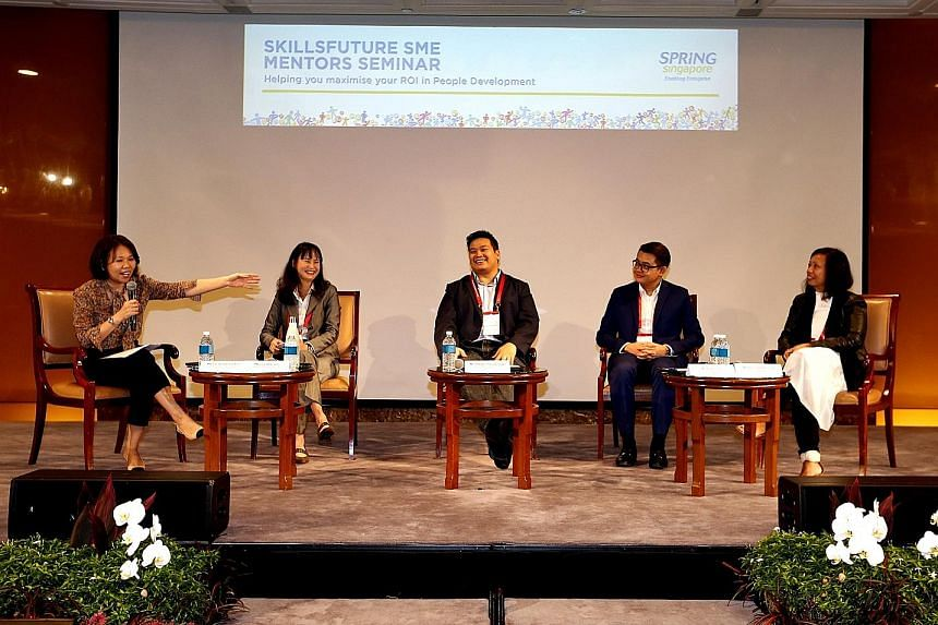 The panel comprised (from left) Ms Christophane Foo, Spring Singapore's executive director for human capital; Ms Lim Hee Joo, executive director of Wah Son Engineering; Mr Sherwin Siregar, chief executive officer at Atlas Sound and Vision; Mr Alex Ch