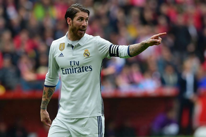 Real Madrid defender Sergio Ramos gesturing during the match against Real Sporting de Gijon, on April 15, 2017.