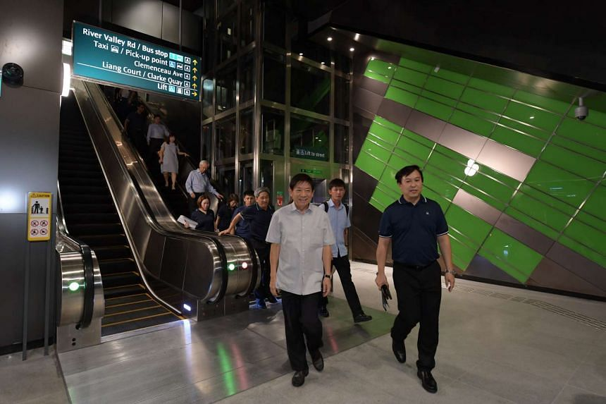 Minister for Transport, Khaw Boon Wan, at Fort Canning Station for a tour on May 31, 2017.