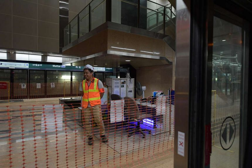 A man is seen at Mattar Station along the Downtown Line.