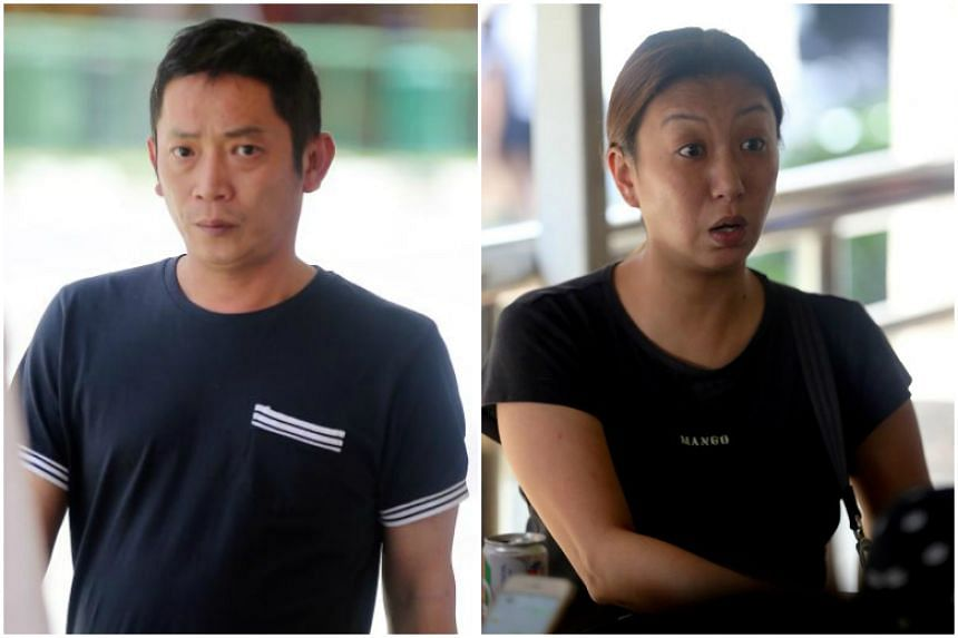 Tan Sung Meng (left) and Pang Pei Pei were charged in court with wrecking Heng Long Teochew Porridge in the wee hours of Saturday.