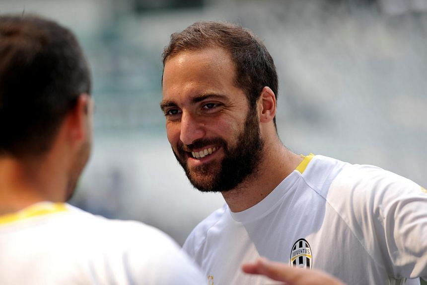 Gonzalo Higuain attends a training session at Juventus stadium in Turin, Italy, on May 29, 2017.