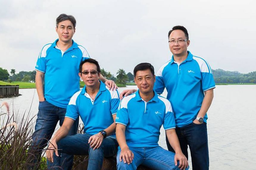 (From far left) Sanli chief executive Sim Hock Heng, and executive directors Lee Tien Chiat, Pek Kian Boon and Kew Boon Kee. Sanli derives 99 per cent of its revenue from PUB, but plans to use the IPO proceeds to vie for bigger contracts, among other
