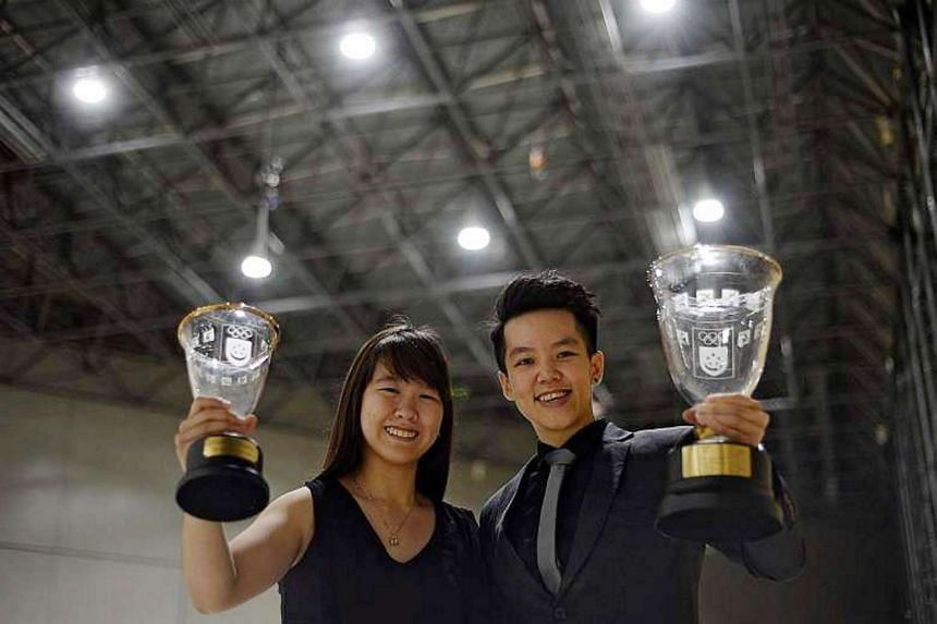 Bowlers Joey Yeo (left) and Shayna Ng, with their Sportsgirl of the Year and Sportswoman of the Year awards respectively, at last year's Singapore Sports Awards.
