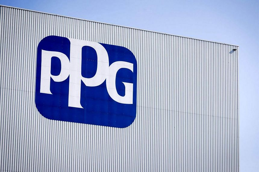 The logo of US company and global supplier of paints, coatings and materials PPG Industries at their branch in Amsterdam, on March 23, 2017.