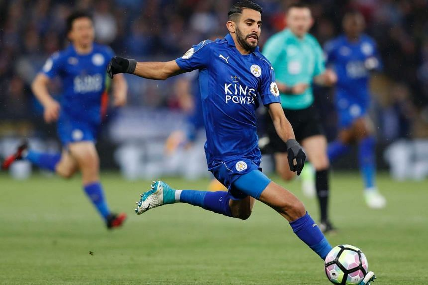 Leicester City midfielder Riyad Mahrez runs with the ball during the English Premier League football match between Leicester City and Tottenham Hotspur on May 18.