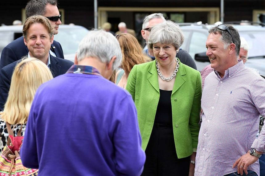 Theresa May speaks to supporters in Shepton Mallet, Britain, May 31, 2017.