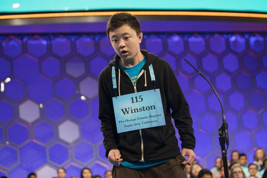 "Winston Zuo, 12, from Yorba Linda, California reacts after correctly spelling ""tendresse""."