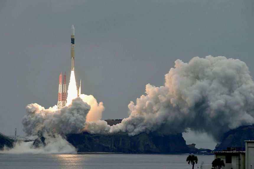 """A H-IIA rocket, carrying a """"Michibiki"""" No. 2 satellite, one of four satellites that will augment regional navigational systems, lifts off from the launching pad at Tanegashima  space centre on Thursday (June 1)."""