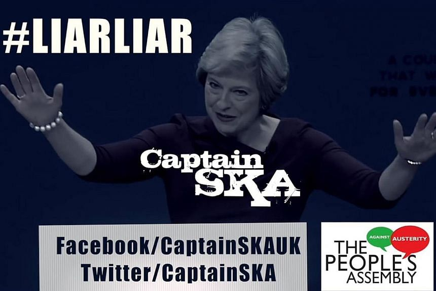 The song Liar, Liar by Captain Ska lampoons British Prime Minister Theresa May (above) for her perceived political flip-flopping.