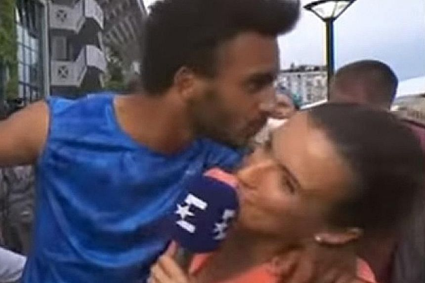 France's Maxime Hamou was captured on video manhandling Eurosport journalist Maly Thomas during an interview after his first-round French Open loss. The world No. 287 has apologised for his actions.