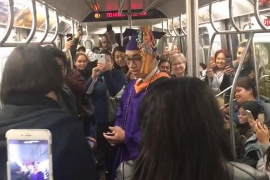 Passengers on board the delayed train gave an impromptu graduation ceremony to 22-year-old Jerich Marco Alcantara.