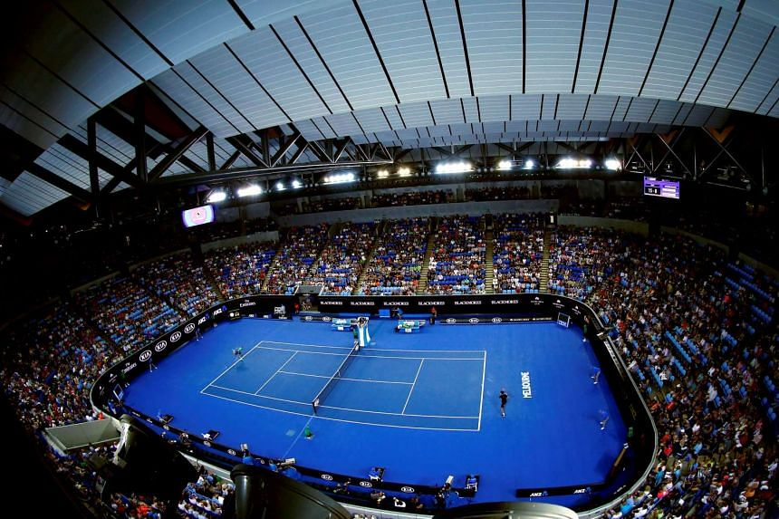 Jo-Wilfried Tsonga serves during his third round match against Pierre-Hugues Herbert at Margaret Court Arena during the Australian Open 2016.