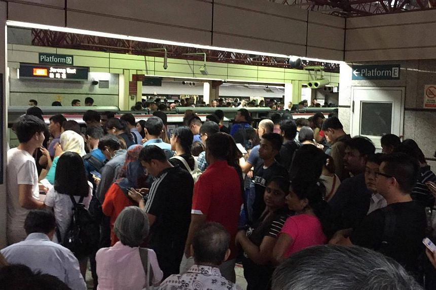 The crowd at Jurong East station on the evening of June 1, 2017.