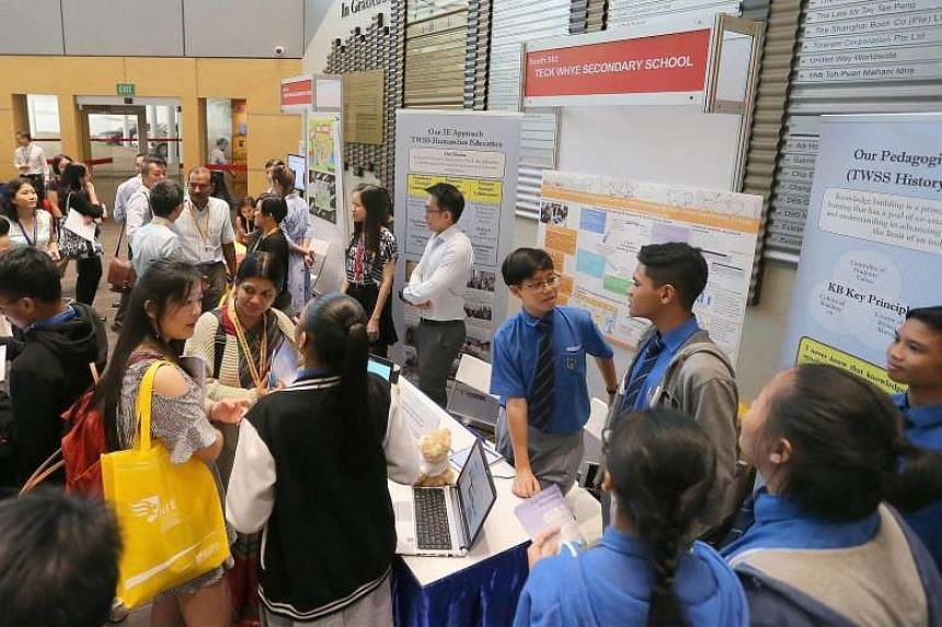 Exhibits at the National Institute of Education's Redesigning Pedagogy International Conference at Nanyang Technological University on May 31.