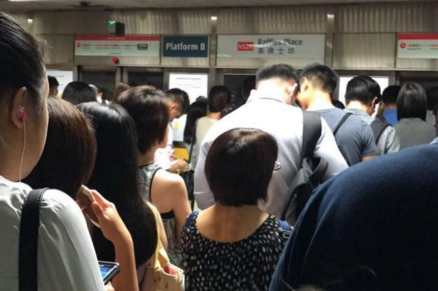 The crowd at the Raffles Place MRT platform following the delay on the North-South Line.