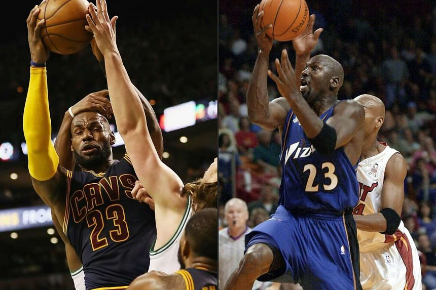 LeBron James (left) on May 25, 2017, and Michael Jordan (right) on Oct 12, 2001.