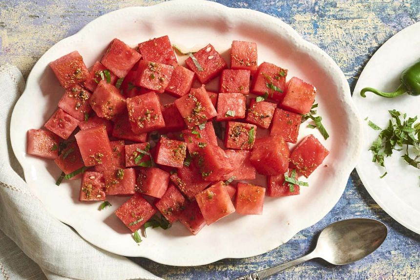This savoury watermelon chaat helps you to hydrate quickly after fasting. PHOTO: NYTIMES