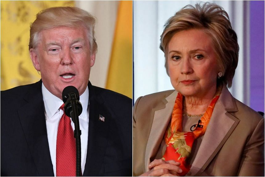 The public dispute on Twitter began when Democrat Hillary Clinton (right) questioned Russia's involvement in US President Donald Trump's campaign during the 2016 US presidential election.