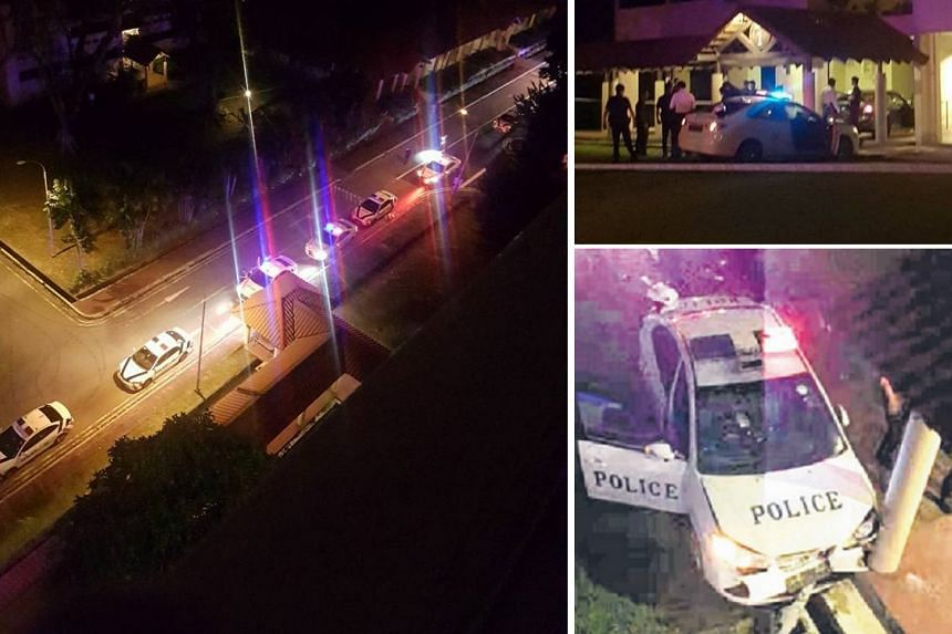 Two police officers were taken to NUH after an accident with a car whose driver had sped off after being stopped at a road block along Mackenzie Road on Friday (June 2).