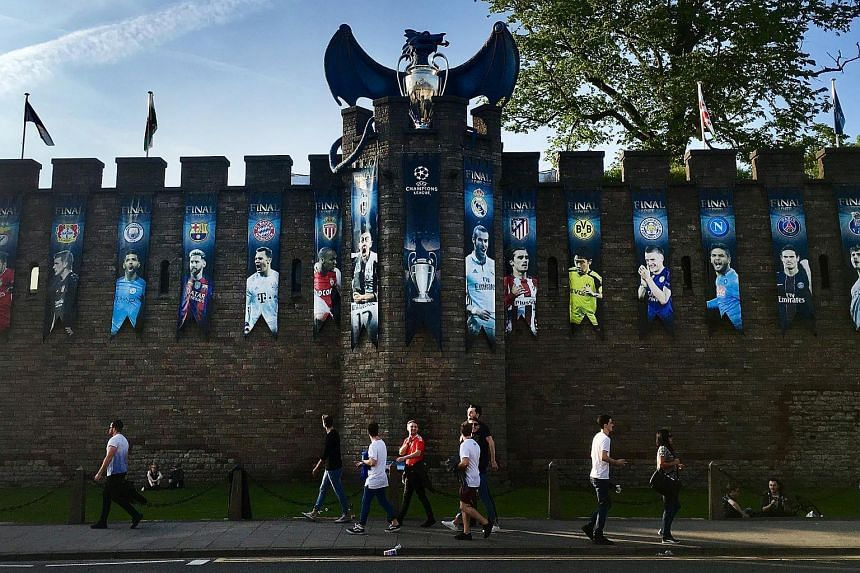 UEFA Champions League banners hang from Cardiff Castle in central Cardiff, Wales, Britain, on June 1, 2017.