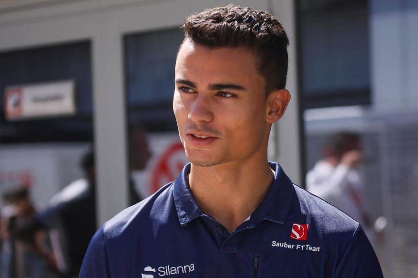Sauber Formula One driver Pascal Wehrlein of Germany speaking to media in the paddock area during the Russian Grand Prix on April 29, 2017.