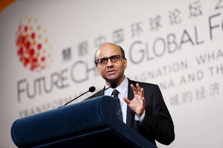 Deputy Prime Minister Tharman Shanmugaratnam speaking at the closing session of the FutureChina Global Forum.