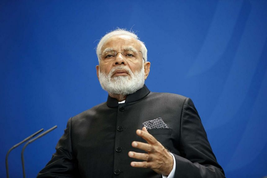 Indian Prime Minister Narendra Modi speaks during a joint press conference at the German Chancellory in Berlin on May 30, 2017.