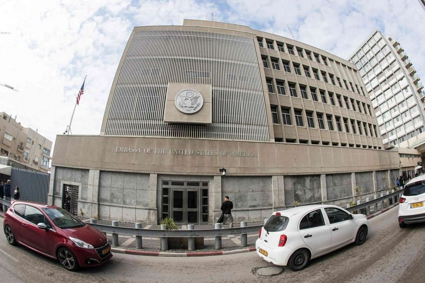 A 2016 photo shows the US Embassy building in the Israeli coastal city of Tel Aviv.
