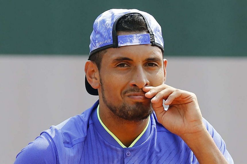 Kyrgios reacts as he plays against Kevin Anderson of South Africa.