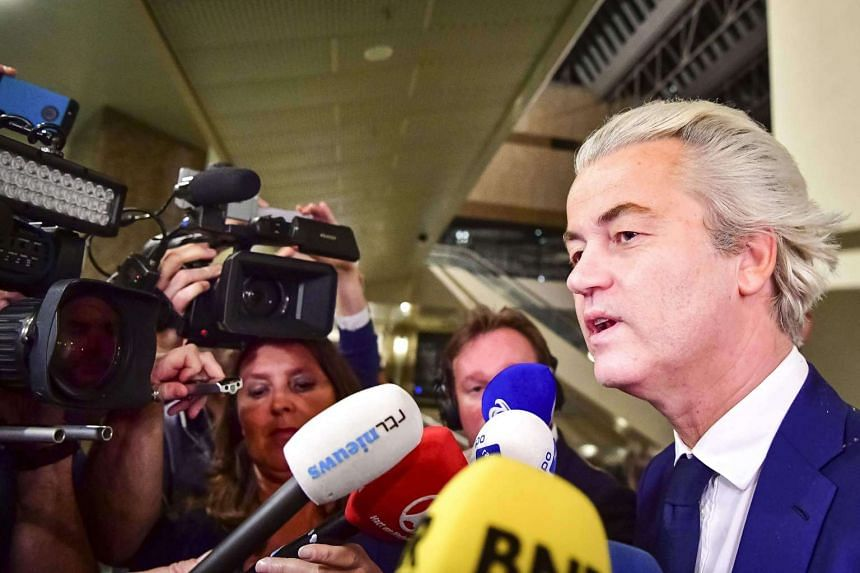 PVV leader Geert Wilders speaks to the press on election night in The Hague, on March 15, 2017.
