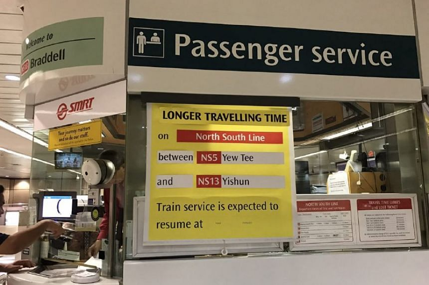 A notice for extended travel time, seen at Braddell Station on Friday (June 2).