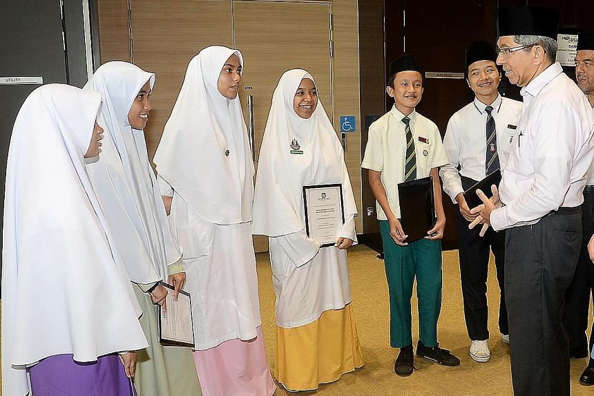 Minister for Communications and Information Yaacob Ibrahim was the guest of honour at the Madrasah Student Awards, where he presented awards to 493 students yesterday.