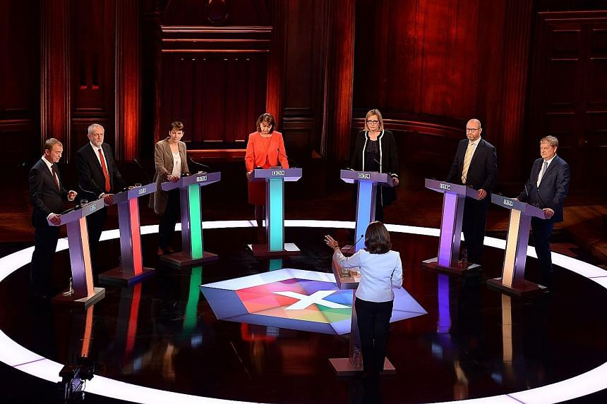 (From left) Liberal Democrats leader Tim Farron, Labour leader Jeremy Corbyn, Green Party co-leader Caroline Lucas, Plaid Cymru leader Leanne Wood, Home Secretary Amber Rudd, UK Independence Party leader Paul Nuttall and Scottish National Party deput