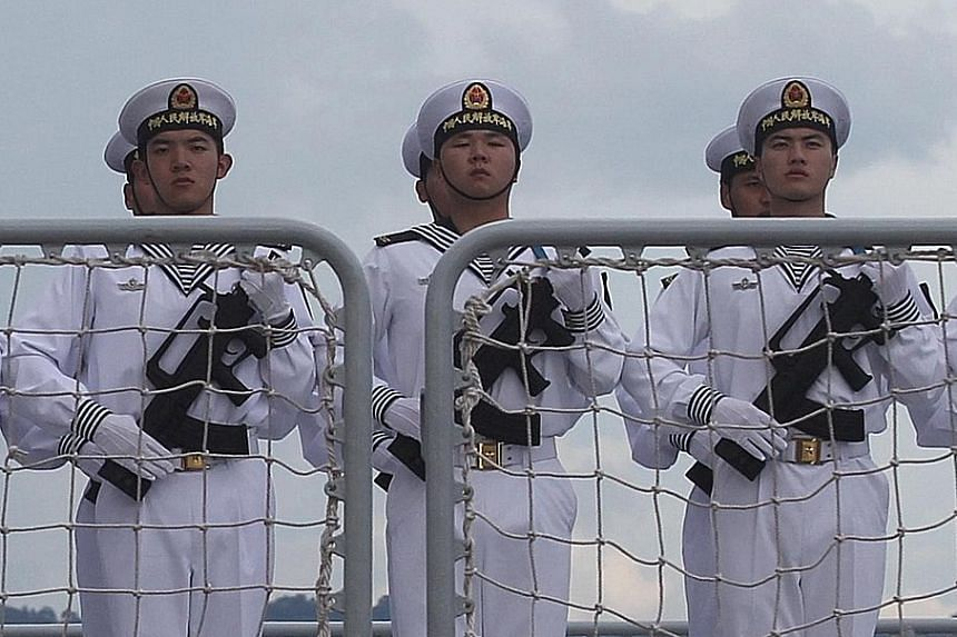 Sailors on board a Chinese ship visiting Davao city, Philippines, on April 30. President Xi Jinping is making preparations to be able to project force into the Indian and Pacific oceans.