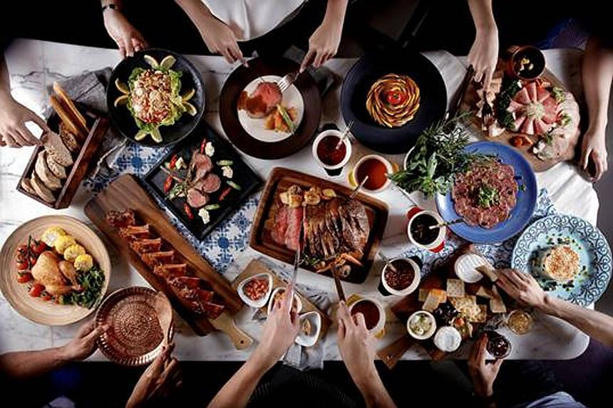 The semi-buffet dinner, Meat On Thursdays, at Plate, Carlton City Hotel, comprises a main course with free flow of salads, appetisers, soups and dessert. Meat dishes include lamb chops and sticky glazed pork ribs.