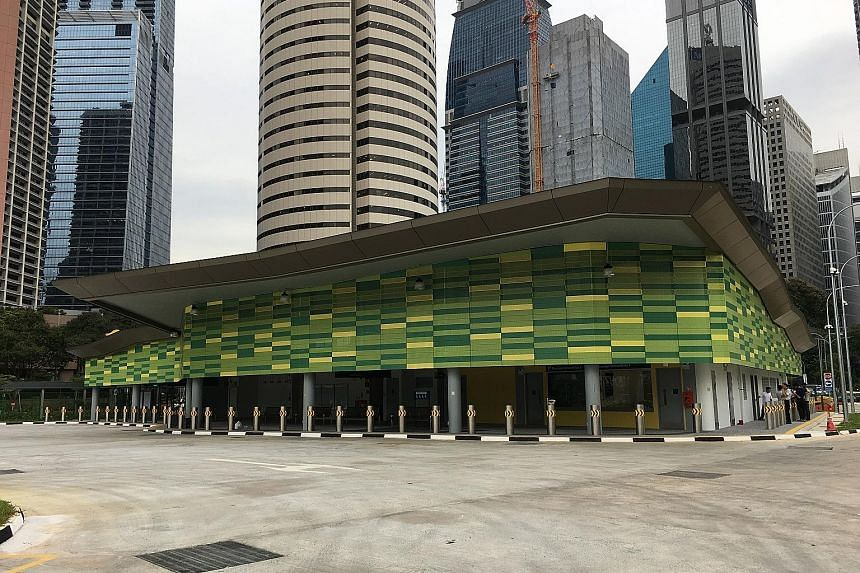 The new bus terminal is located off Shenton Way, next to Bestway Building and directly opposite the Monetary Authority of Singapore building.