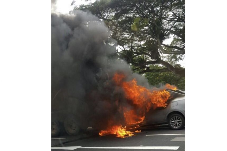 A car that caught fire on Clementi Road on June 2, 2017.